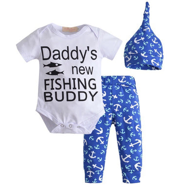 """Daddy's Fishing Buddy"" Short Sleeve Onesie 3 Piece Outfit"