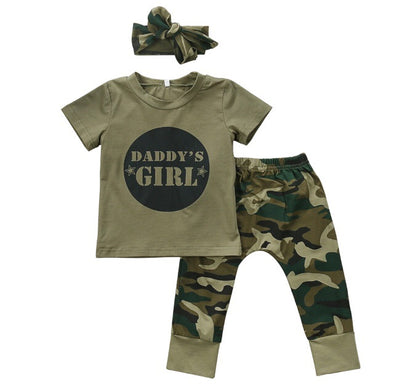 "Camo ""Daddy's Girl"" Short Sleeve 3 Piece Outfit"
