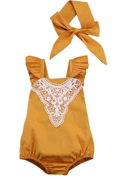 Mustard Lace Sleeveless Romper