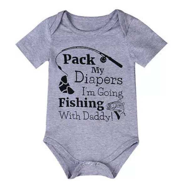 """Fishing"" Short Sleeve Onesie"