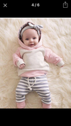 Pink and Blue Stripe Hoodie and Leggings