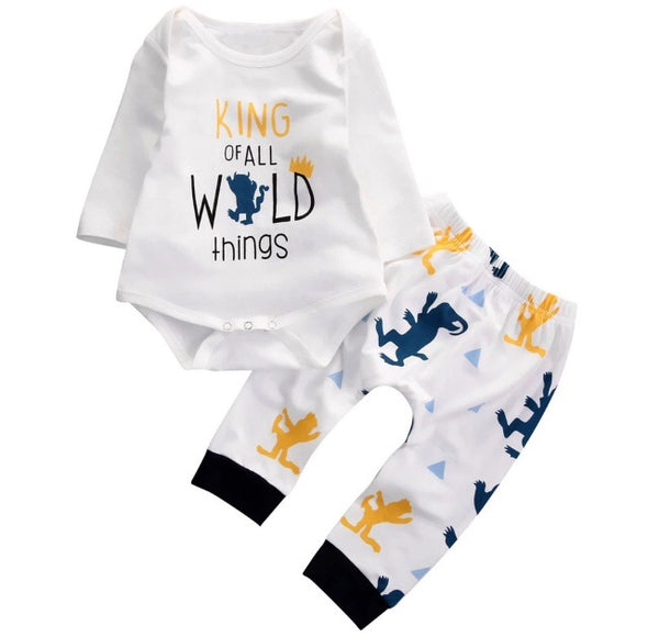 """King of all Wild Things"" Long Sleeve Onesie 2 Piece Outfit"