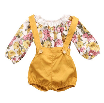 Golden Yellow Floral Long Sleeve Romper