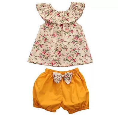 Golden Flower Sleeveless Shorts Set