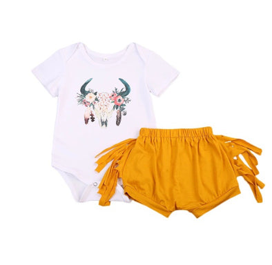 Goddess Golden Short Sleeve Onesie Set