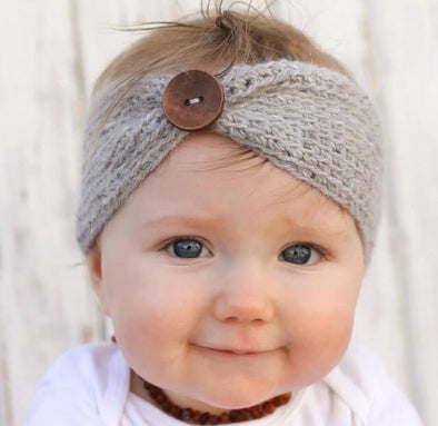 Button Knit Baby Headband