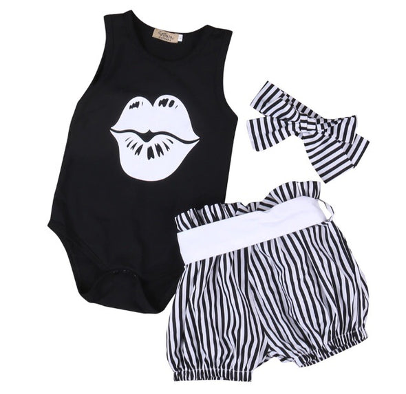 Kiss Sleeveless Onesie and Shorts Set