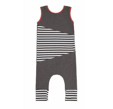 Geo Charcoal Stripe Sleeveless Jumpsuit