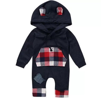 Black and Red Plaid Hooded Jumpsuit
