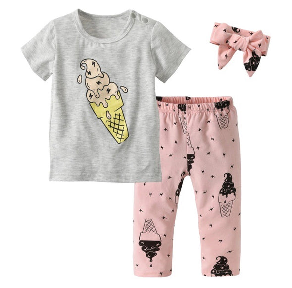 Ice Cream Short Sleeve 3 Piece Outfit