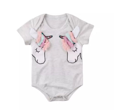 Gray Unicorn Short Sleeve Onesie