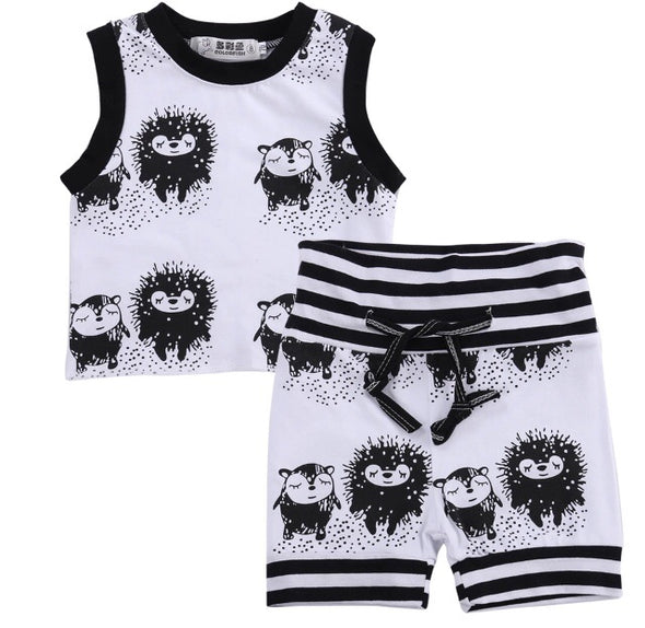 Hedgehog Sleeveless Shorts Set