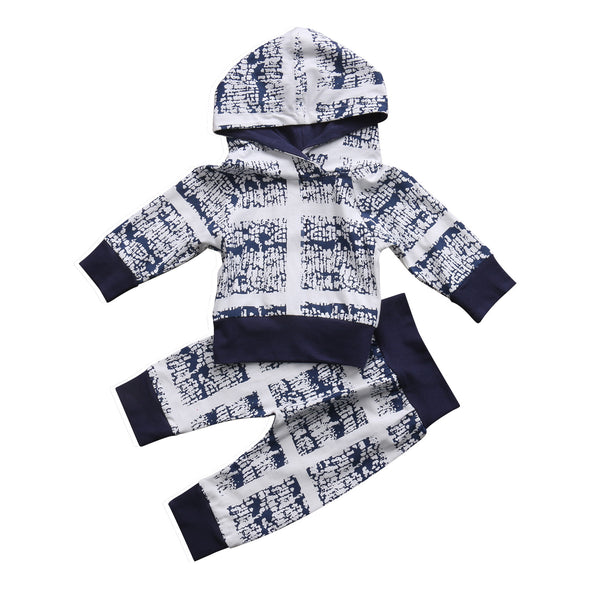 Navy and White Streetwear Pattern Hoodie and Leggings