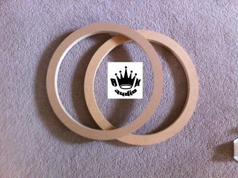 "8"" Speaker Spacers Subwoofer Fiberglass Rings 1"" MDF Pair 7.25"" Hole Cutout"