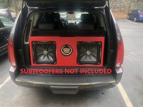 "Cadillac Escalade SUV Behind 3rd Row Seat Kicker L7 Solobaric 10"", 12"", 15"" Sub Box Subwoofer Enclosure SUV Box"