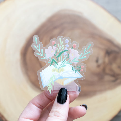 Books and Flowers - CLEAR - Vinyl Sticker