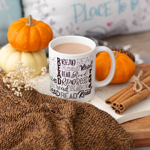 """Read"" Black and White Mug 11 oz"