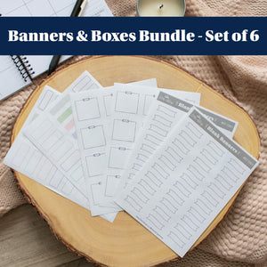Banners & Boxes - Set of 6 Planner Stickers