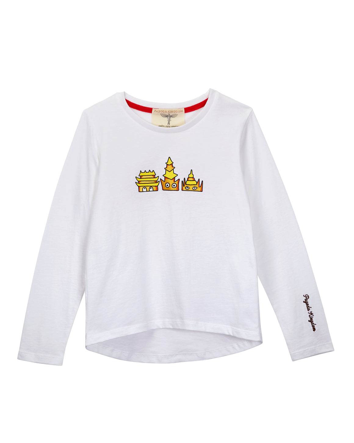 Golden Pagodas Printed T-Shirt White