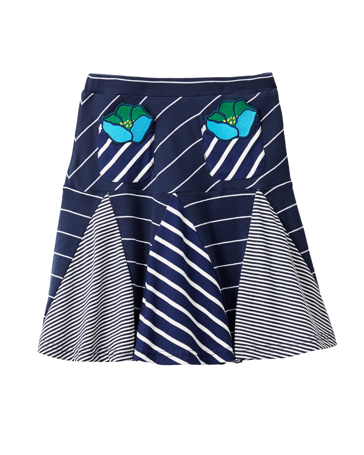 Blue Poppy Stripe Skirt