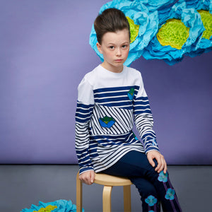 Blue Poppy Stripe T-Shirt