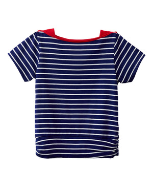 Striped Navy Bateau Neck T-Shirt