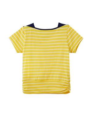 Striped Yellow Bateau Neck T-Shirt