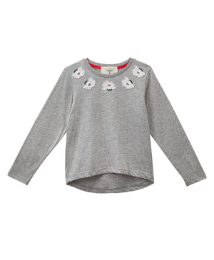 Magnolia Embroidered T-Shirt Grey