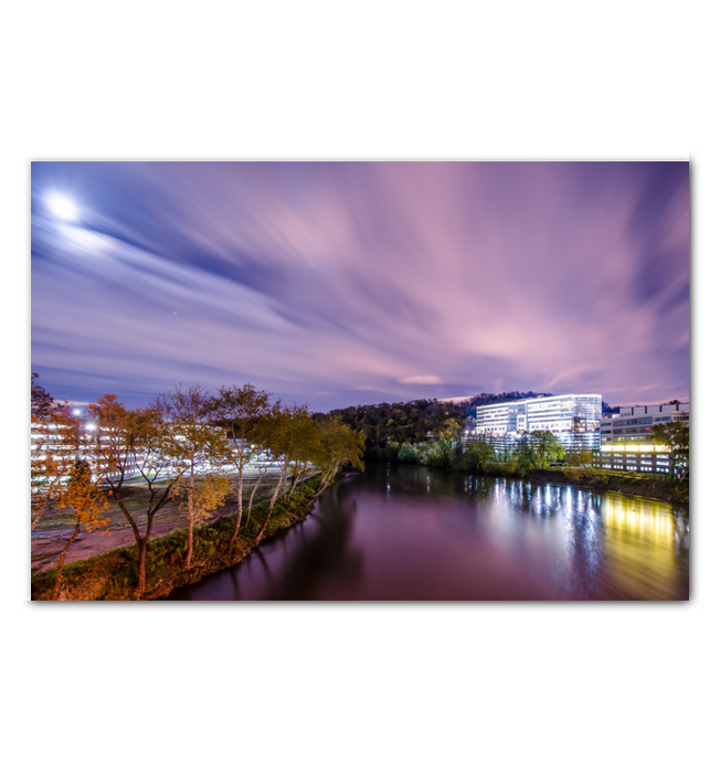 Conshohocken Riverview at Night Scene 32 x 48 canvas