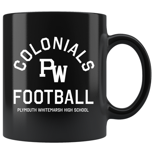 PW Colonials Football 11oz Black Mug