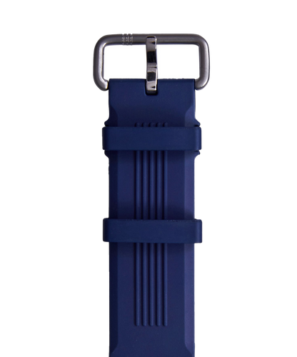 Blue Embossed Rubber Strap Silver Buckle