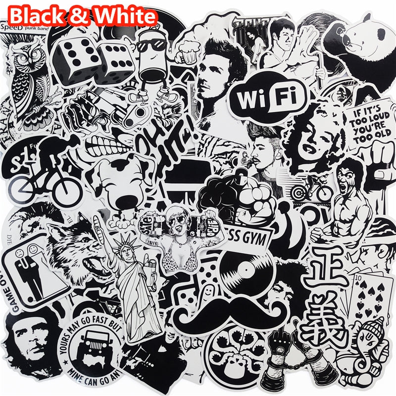 Lot de 101 autocollants/stickers Noir et blanc