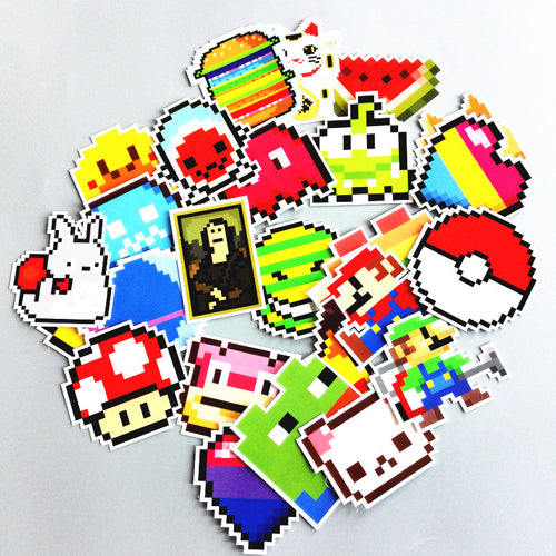 Lot de 25 stickers Pixelliser (Mario, pokeball, Pacman...)