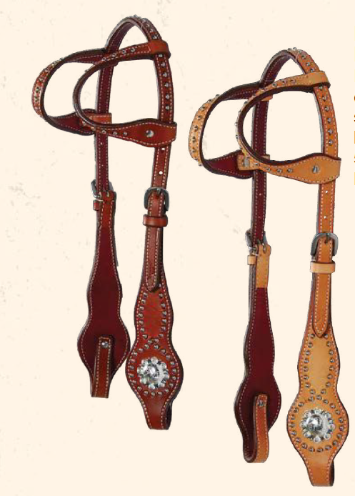 Berry Spotted Double Ear Headstall with Spots