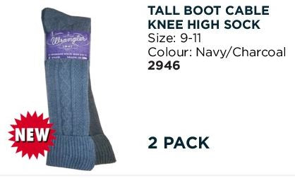 Wrangler Tall Boot Knee High Sock - 2 Pack