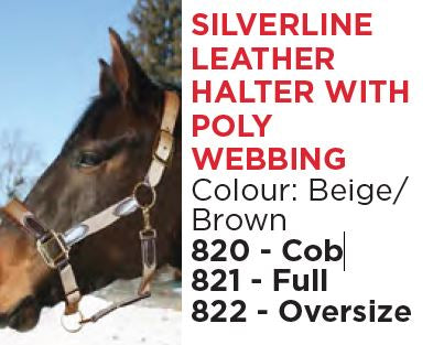 Silverline Leather Halter with Poly Webbing