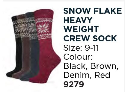 Wise Blend Ladies Snowflake Heavyweight Crew Socks