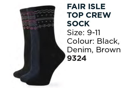 Fair Isle Top Crew Sock