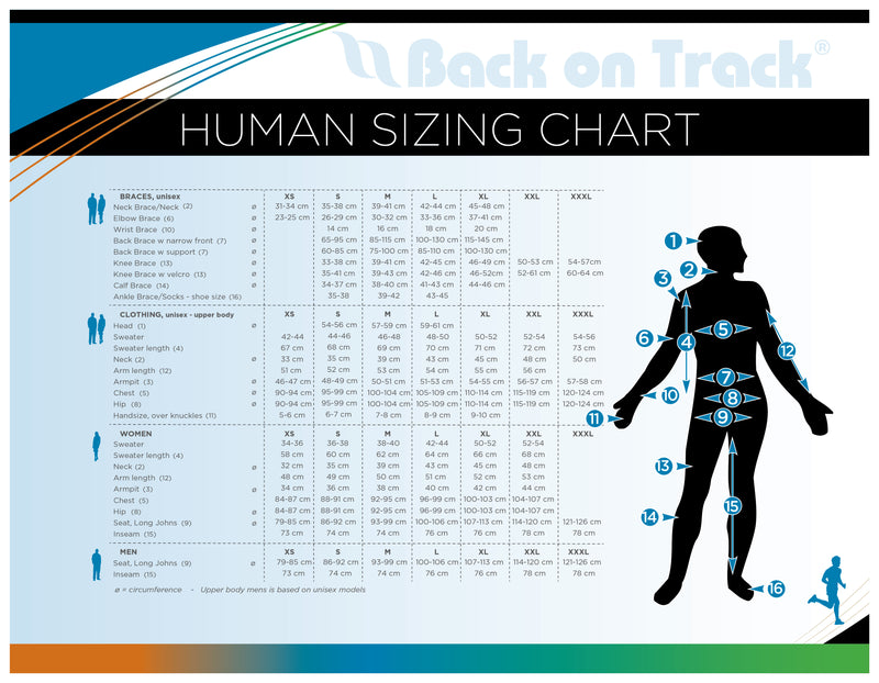 Back On Track - Sizing Charts