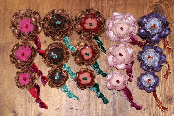 Bronze, Pink & Purple Shiny Leather Flower Hair Ties