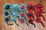 Shiny Turquoise & Red Leather Flower Hair Ties