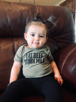 Sage Green 'Eat Beef Drink Milk' Unisex Onesie
