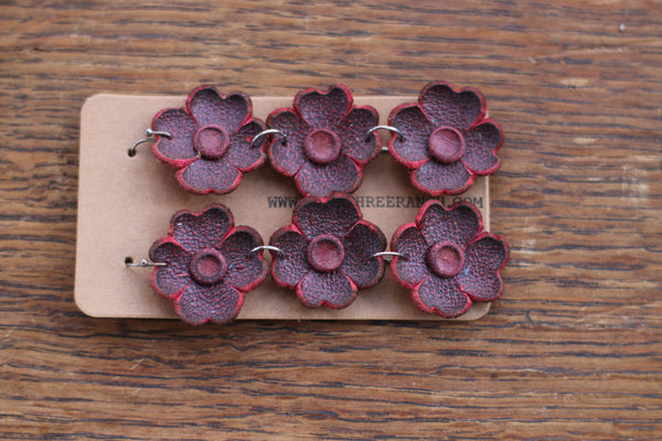 Leather Flower Earrings