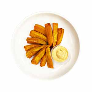 Sweet Potato Wedges with Srirachia Cashew Mayo
