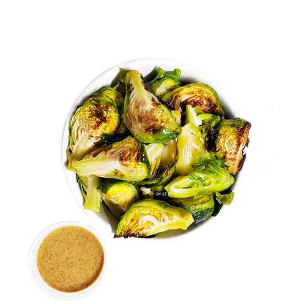 Brussels Sprouts with Ginger Miso Almond Butter