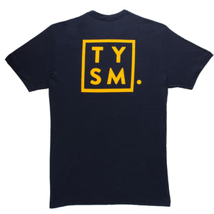 TYSM Box Tee Navy/Gold - thankyouapparel