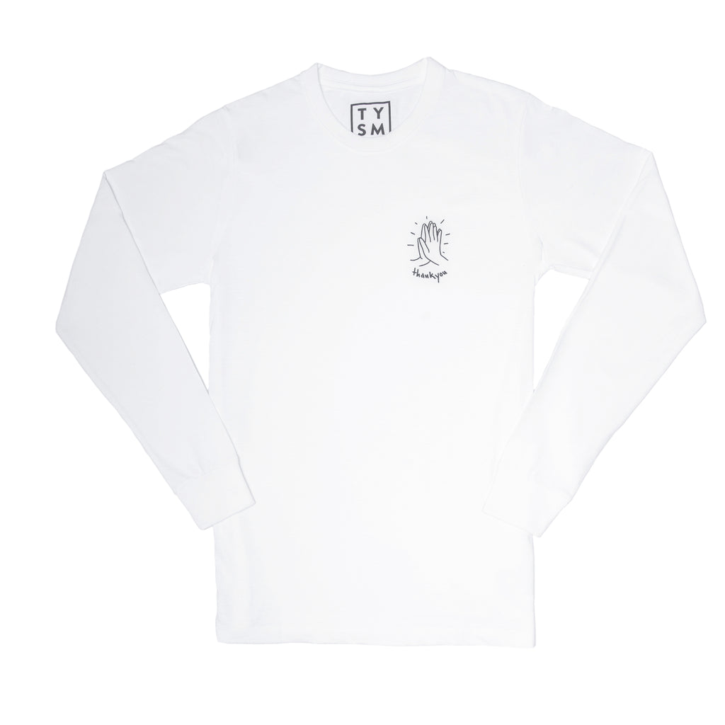Hi-Five Long Sleeve White/Black - thankyouapparel