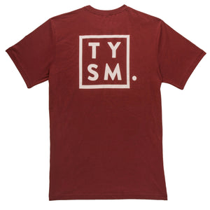 TYSM Box Tee Burgandy/White - thankyouapparel