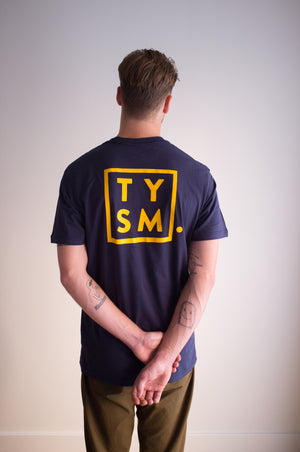 TYSM Box Tee - Navy/Gold - thankyouapparel