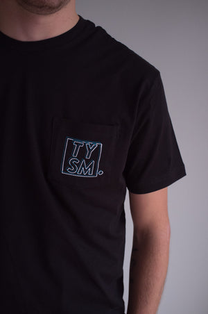 LP Pocket Tee Black/Blue - thankyouapparel